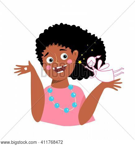 Happy Edentulous African American Black Girl Missing Her Teeth, With Funny Tooth Fairy Character. Ki
