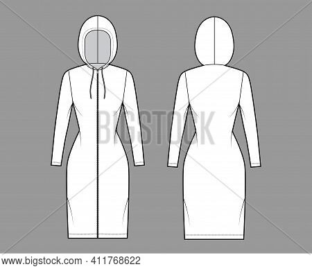 Zip-up Hoody Dress Technical Fashion Illustration With Long Sleeves, Knee Length, Fitted Body, Penci