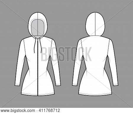 Zip-up Hoody Dress Technical Fashion Illustration With Long Sleeves, Mini Length, Fitted Body, Penci