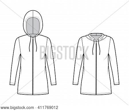 Set Of Zip-up Hoody Dresses Technical Fashion Illustration With Long Sleeves, Mini Length, Oversized