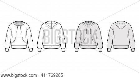 Hoody Sweatshirt Technical Fashion Illustration With Long Sleeves, Kangaroo Pouch, Banded Hem, Draws