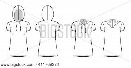 Set Of Hoody Dresses Technical Fashion Illustration With Short Sleeves, Mini Length, Oversized Body,