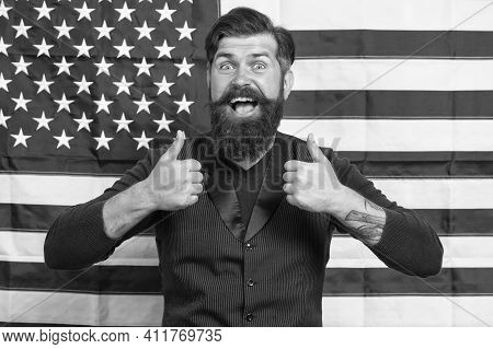 His Best Trip. American Citizen Show Thumb Up At Usa Flag. American Citizen In Election. Happy Celeb