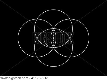 Vesica Piscis Sacred Geometry. All Seeing Eye, The Third Eye Or The Eye Of Providence Inside Dotted