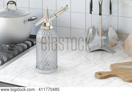 Siphon Seltzer Bottle On The Kitchen Desk, 3d Rendering