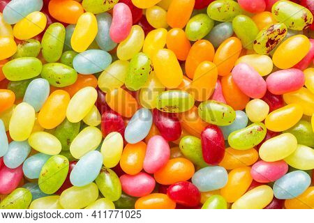 Sweet colorful jelly beans. Top view.