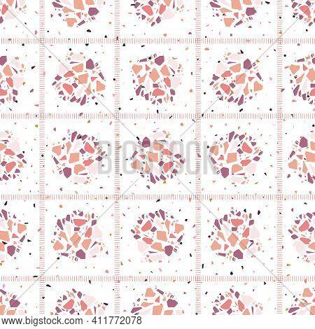 Polka Dot Grid Italian Terrazzo Seamless Pattern. Venetian Inspired Marble Background.