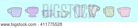 Set Of Crockery Cartoon Icon Design Template With Various Models. Modern Vector Illustration Isolate