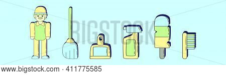 Set Of Caretaker Cartoon Icon Design Template With Various Models. Modern Vector Illustration Isolat