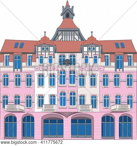 Beautiful Pink Old House With A Tiled Roof In Poznan. Poland.