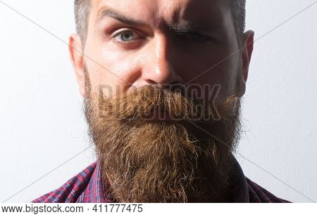 Unshaven Guy With Long Beard And Moustache Closeup. Bearded Man In Barber Shop. Vintage Barbershop,