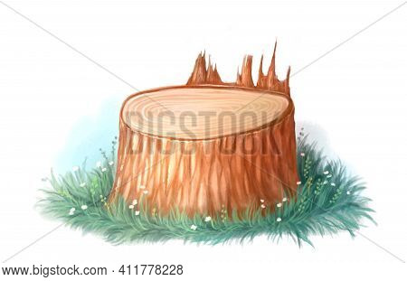 Illustration Of Cartoon Stump, Felled Tree. Grass And Tree Stump On White Background, Color Detailed