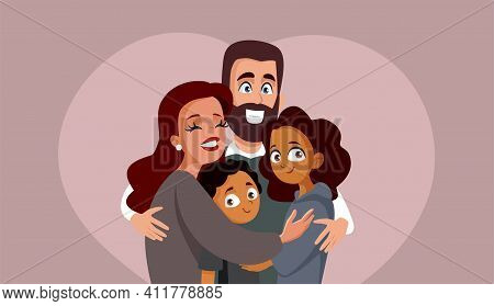 Happy Smiling Multi Ethnic Family Vector Illustration