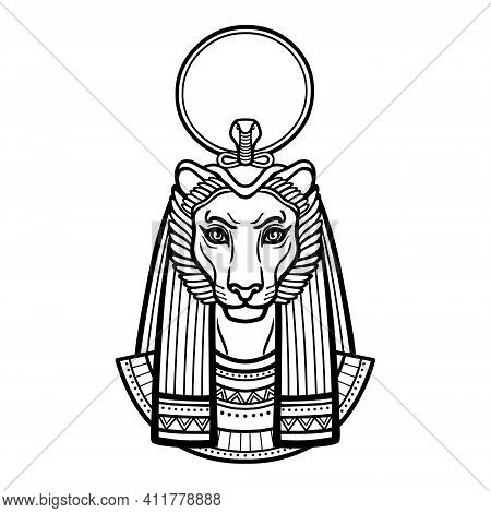 Animation Portrait Ancient Egyptian Goddess With Head Of  Lioness, Disk Of Sun. Tefnut, Sekhmet, Bas