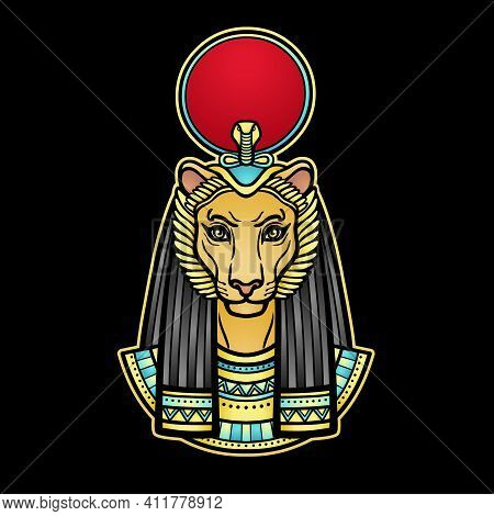 Animation  Color Portrait Ancient Egyptian Goddess With Head Of  Lioness, Disk Of Sun. Tefnut, Sekhm