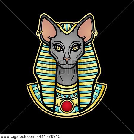 Animation Color Portrait Ancient Egyptian Goddess Bastet (bast).with Cat Head.  Vector Illustration