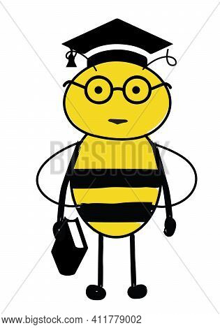Cartoon Cute Bee Wearing Glasses And Academic. Bee Smart. Wise Bee Holding Book.