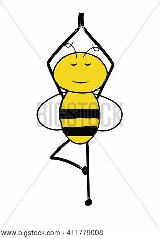 Cartoon Cute Bee Standing On A Foot And Meditating. Peaceful Bee In A Yoga Pose.