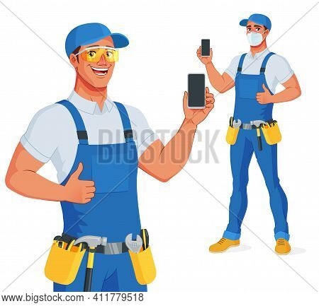 Handyman In Bib Overalls And Protective Glasses Showing Blank Smartphone Screen With Thumb Up. Vecto