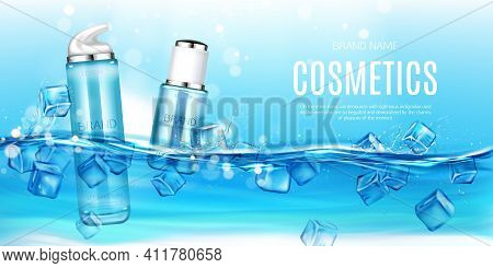 Cosmetics Bottles Floating In Water With Ice Cubes Mockup Background. Beauty Cosmetic Product Tubes,