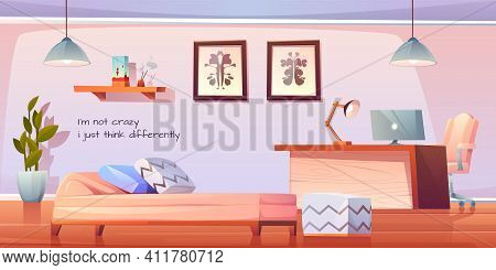Psychologist, Psychotherapist Office With Stuff And Furniture, Practitioner Cabinet With Pc On Table