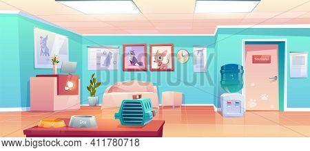 Veterinary Clinic Reception, Empty Hall Interior With Desk, Veterinarian Doctor Cabinet Door. Animal