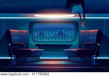 Train Night Inside Interior, Empty Railway Car With Comfortable Seats Near Large Window With Beautif