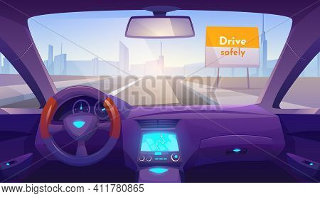 Car Interior Inside With Gps On Dashboard And Day Time View Through Windshield On Road And Cityscape