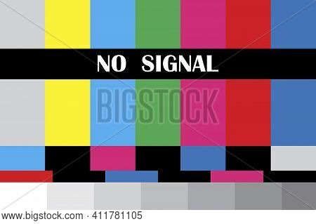 Screensaver No Signal. Vintage Colorful Pattern. Vector Background. Stock Image. Eps 10.