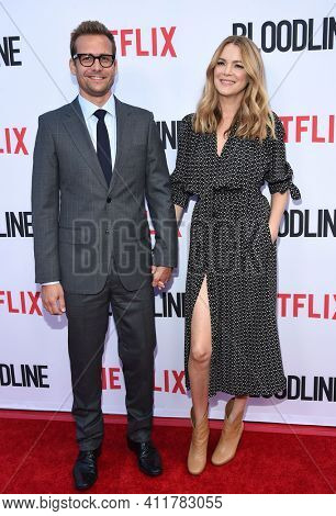 LOS ANGELES - MAY 24:  Gabriel Macht and Jacinda Barrett arrives for  the 'Bloodline' Season 3 Premiere on May 24, 2017 in Culver City, CA