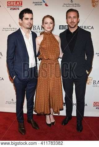 LOS ANGELES - JAN 7:  Damien Chazelle, Ryan Gosling and Emma Stone arrives for  BAFTA Los Angeles Tea Party 2017 on January 07, 2017 in Beverly Hills, CA