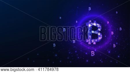 Bitcoin Digital Currency Concept.vector Bitcoin Currency Logo On Dark Blue Background.financial Tech