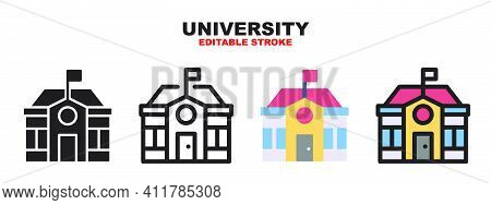 University Icon Set With Different Styles. Colored Vector Icons Designed In Filled, Outline, Flat, G