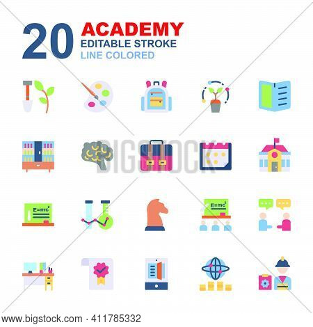 Icon Set Of Academy. Flat Color Style Icon Vector. Contains Such Of Agriculture, Class, University,