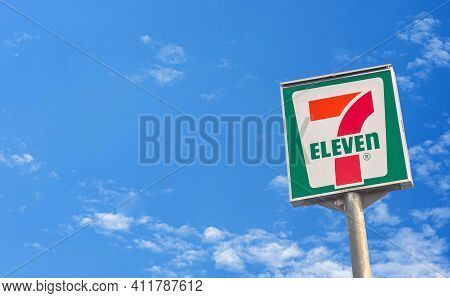 7-eleven Store Sign High Banner 7-11 Bangkok, Thailand Logo 7 Eleven Items And Thousands Of Branches