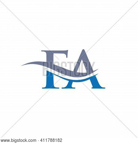 Premium Letter Fa Logo Design With Water Wave Concept. Fa Logo Design