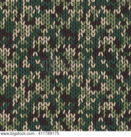 Stylish Knitted Military Camo. Green Wool Camouflage Pattern . Seamless Texture. Design For Fabric P