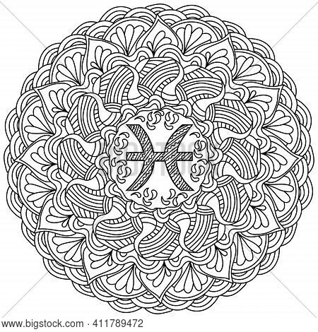 Contour Mandala Zodiac Sign Pisces, Zen Coloring Page With Linear Curly Patterns For Creativity Vect