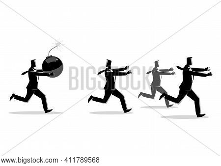 Business Concept Vector Illustration Of A Businessman Holding A Huge Bomb And His Friends Running Aw
