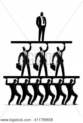 Business Concept Vector Illustration Of Work Class Pyramid