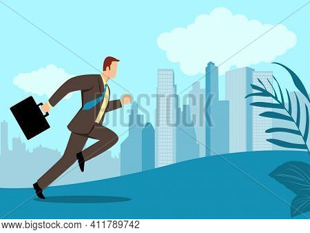 Simple Flat Vector Illustration Of A Businessman Running With Briefcase, Business, Energetic, Dynami