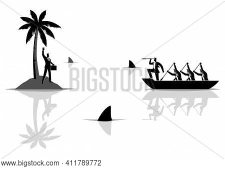 Business Concept Vector Illustration Of A Businessman Get Stuck On Island With Water Full Of Sharks,