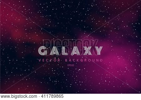 Horizontal Space Background With Realistic Nebula, Stardust And Stars. Night Sky. Web Design. Infini