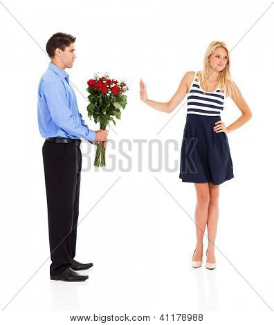 young man been rejected by a young woman on velentine's day poster