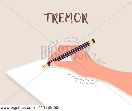 Tremor Hands. Primary Symptom Parkinson Disease. Arms Writing With A Pen. Physiological Stress Sympt