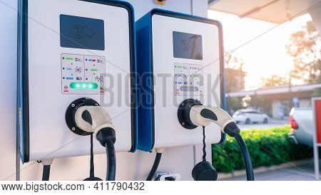 Electric Car Charging Station For Charge Ev Battery. Plug For Vehicle With Electric And Hybrid Engin
