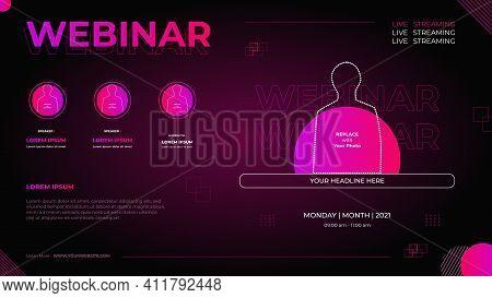 Website Banner Template For Business Webinar, Marketing Webinar, Online Ducation Etc. With Geometric
