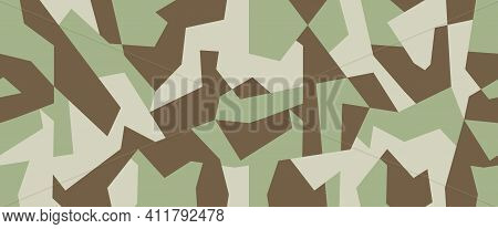 Military Camo Seamless Pattern. Geometric Camouflage Backdrop In Light Green And Brawn Color. Stock