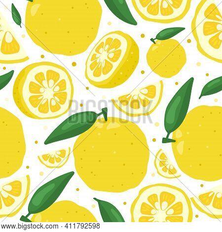 Yuzu Japanese Citron Fruit Seamless Pattern Vector Illustration Isolated On White Background. Full,