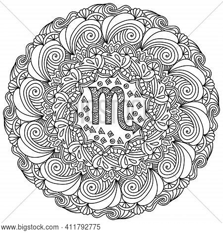 Contour Mandala Zodiac Sign Scorpio, Doodle Coloring Page In The Form Of A Round Pattern Of Frequent